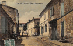 Cercoux Rue Du Champ De Foire (cpa toilée émaillée - Cercoux