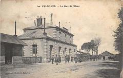 Valognes La Gare De L'Ouest (cpa animée - Valognes