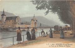 Seyssel Le Pont Sur Le Rhone Et L'Eglise (cliché pas courant - Seyssel