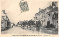 Noyers Pres Saint Aignan La Mairie Et La Grande Rue (animée (Scan Recto V - Saint-Aignan