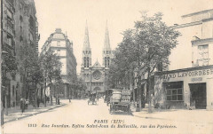 Rue Jourdain. Eglise Saint-Jean de Belleville, rue des Pyrénées - Paris 20e