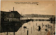 Crue de la Seine,Janvier 1910 -Saint-Denis -Le Lavoir et les bas... 93 Saint-Denis