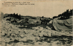 Tremblement de terre Saint-CANNAT, habitants refugies sous les tentes - Saint-Cannat