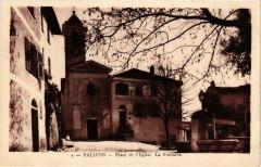 Falicon Place de l'Eglise. La Fontaine - Falicon