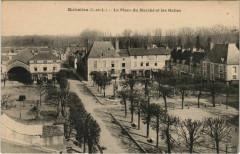 Richelieu - la place du marche et les halles - Richelieu