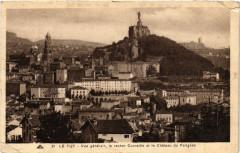 Le Puy -Vue generale,le rocher Corneille et le Chateau de Polignac - Polignac