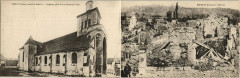 Crouy - L'Eglise - Before and After World War I - Double Sided Pc - Crouy