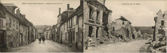 Crouy - La Rue de Laon - Before and After War - Double Sided Pc - Crouy
