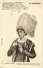 Coutances - Coiffes d'Hier - Jeune Femme - Folklore - Type - Coutances