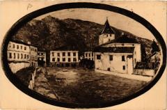 Pays Basque La Place a Sare-d'apres une peinture de Floutier - Sare