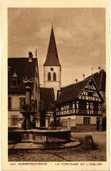 Ammerschwihr - La Fontaine et l'Eglise - Ammerschwihr