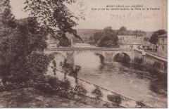 Vue prise du jardin public, le pont de la Vézère - Montignac