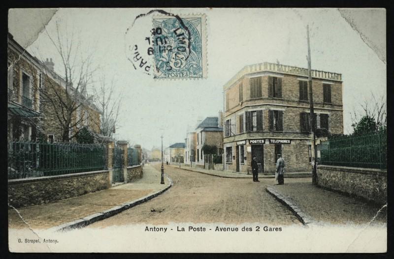 Carte postale ancienne Poste - Avenue des 2 Gares à Antony