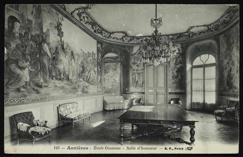 Carte postale ancienne Ecole Ozanam, salle d'honneur à Asnières-sur-Seine