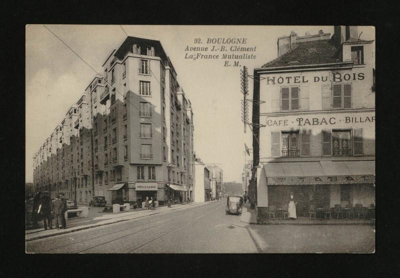 Carte postale ancienne Avenue J.-B. Clément et La France Mutualiste à Boulogne-Billancourt