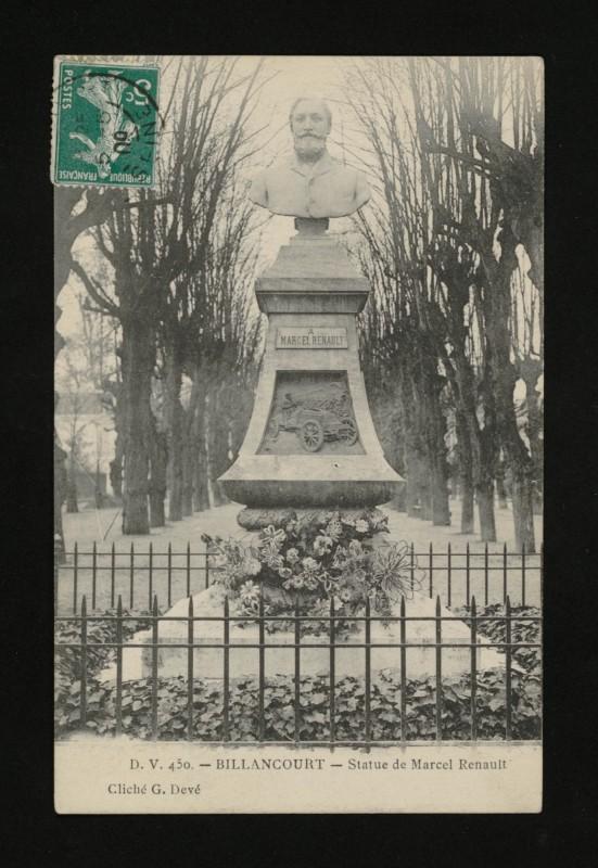 Carte postale ancienne Statue de Marcel Renault à Boulogne-Billancourt