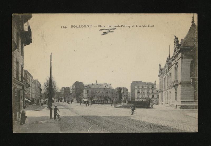 Carte postale ancienne Place Bernard-Palissy et Grande-Rue à Boulogne-Billancourt