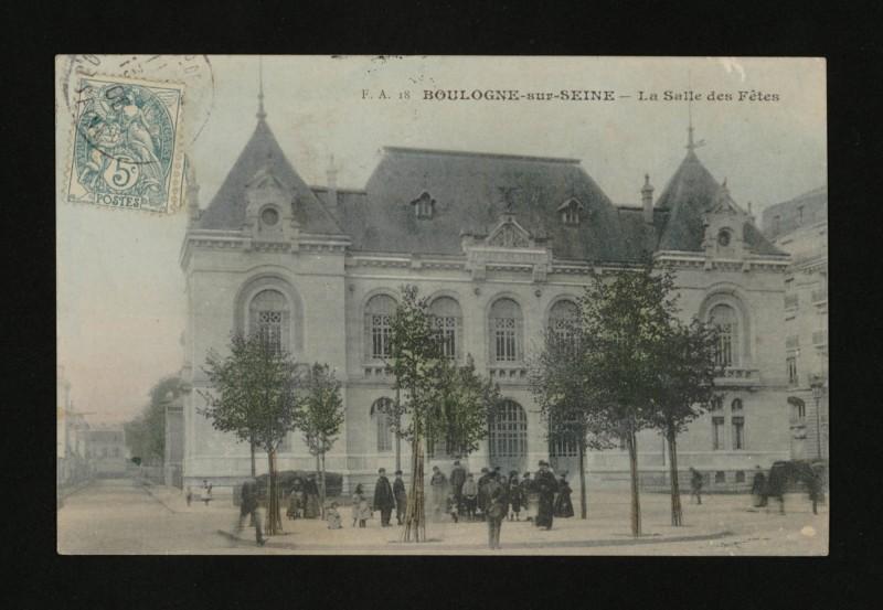 Carte postale ancienne La Salle des Fêtes à Boulogne-Billancourt
