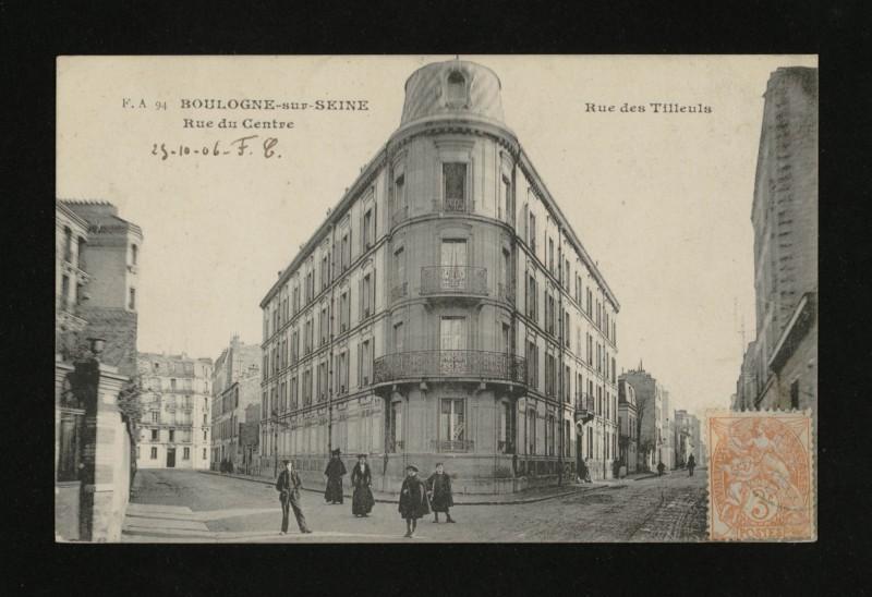Carte postale ancienne Rue des Tilleuls - Rue du Centre à Boulogne-Billancourt