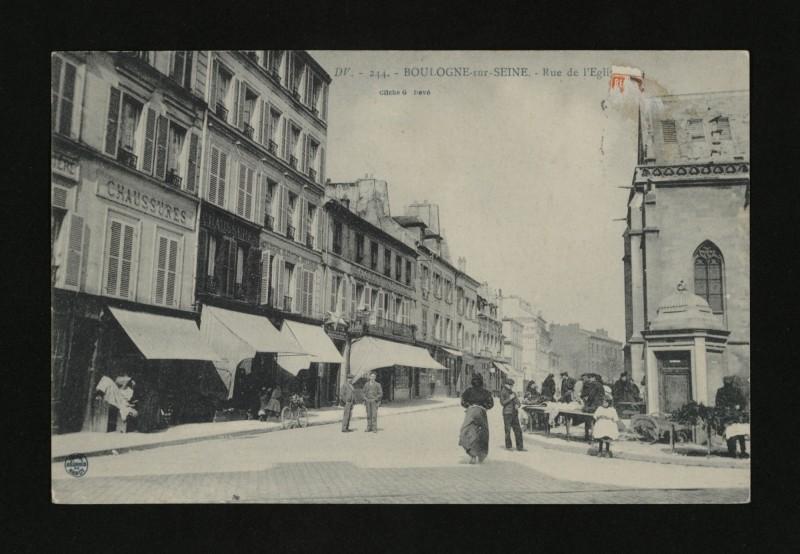 Carte postale ancienne Rue de l'Eglise à Boulogne-Billancourt