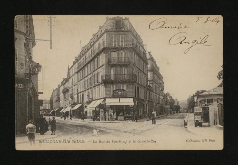 Carte postale ancienne La rue du Parchamp & la Grande-Rue à Boulogne-Billancourt