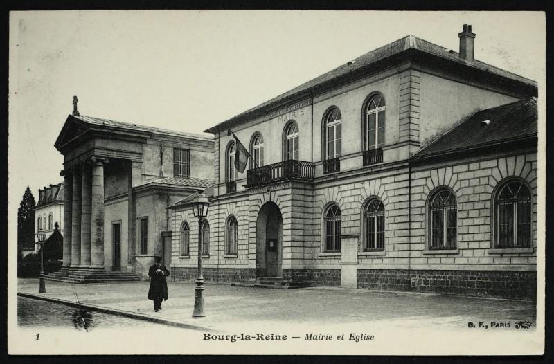Carte postale ancienne Mairie et Eglise à Bourg-la-Reine
