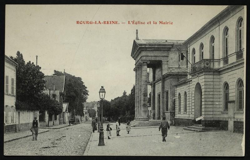 Carte postale ancienne L'Eglise et la Mairie à Bourg-la-Reine