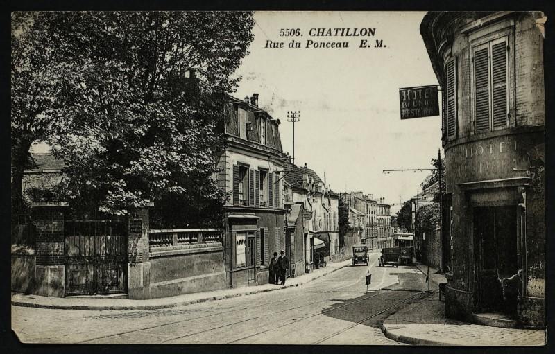Carte postale ancienne Rue du Ponceau à Châtillon