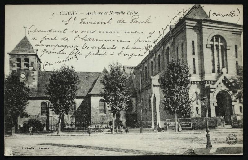 Carte postale ancienne Ancienne et Nouvelle Eglise à Clichy