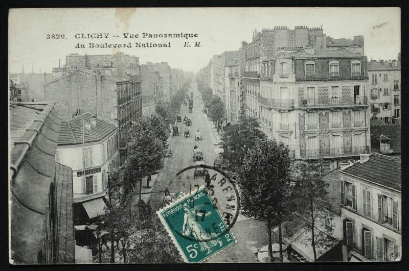 Carte postale ancienne Vue Panoramique du Boulevard National à Clichy