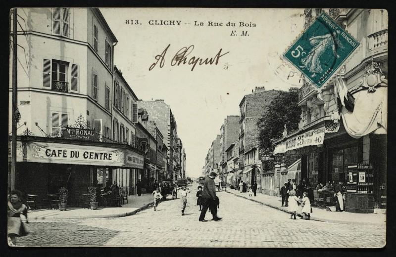 Carte postale ancienne La Rue du Bois à Clichy