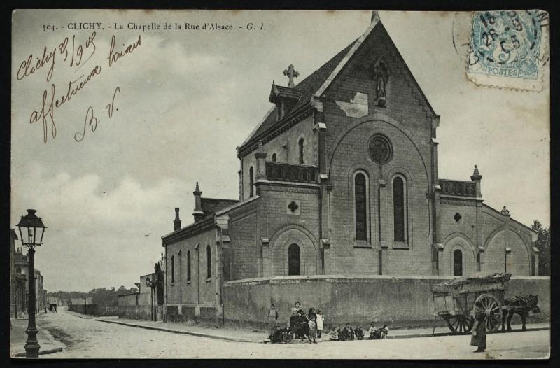 Carte postale ancienne La Chapelle de la Rue d'Alsace à Clichy