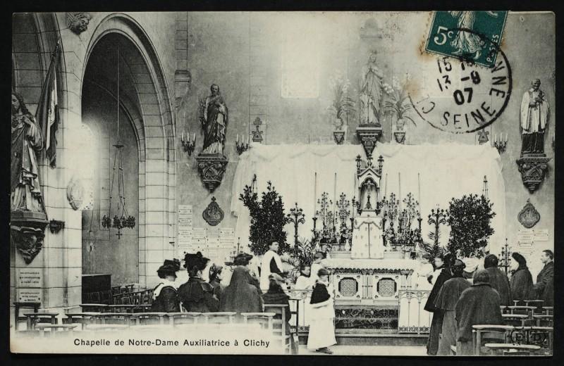 Carte postale ancienne Chapelle de Notre-Dame Auxiliatrice à Clichy