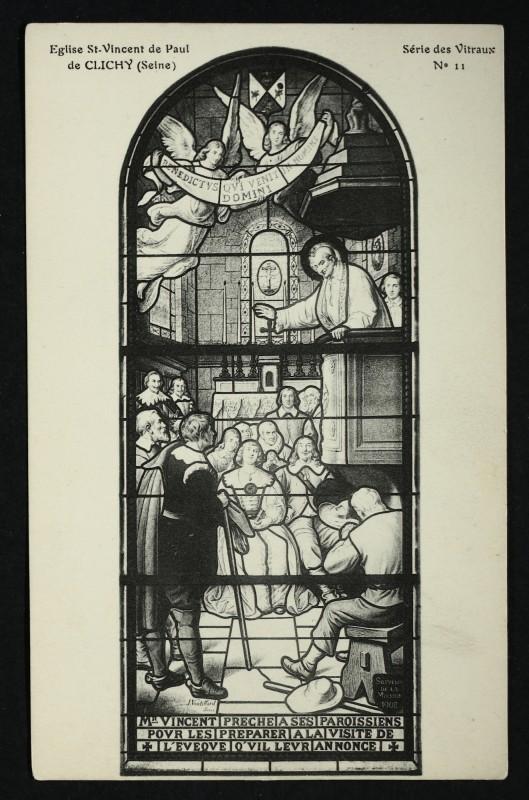 Carte postale ancienne Eglise St-Vincent de Paul de Clichy (Seine) - Série des Vitraux - N°11 à Clichy