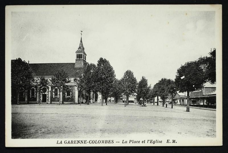 Carte postale ancienne La Place et l'Eglise à La Garenne-Colombes