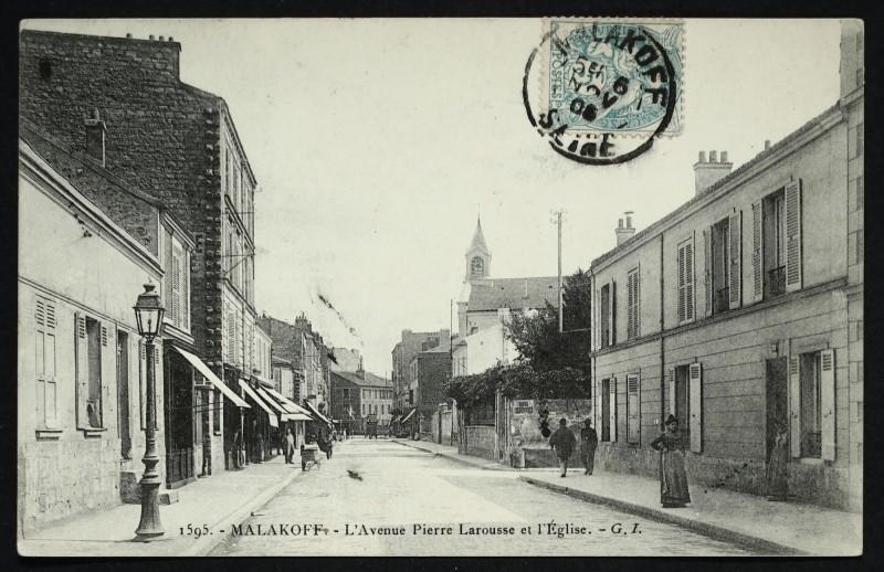 Carte postale ancienne L'Avenue Pierre Larousse et l'Eglise à Malakoff