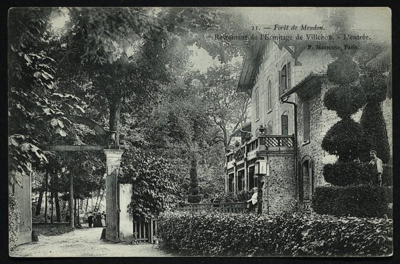 Carte postale ancienne Forêt de Meudon - Restaurant de l'Ermitage de Villebon - L'entrée à Meudon