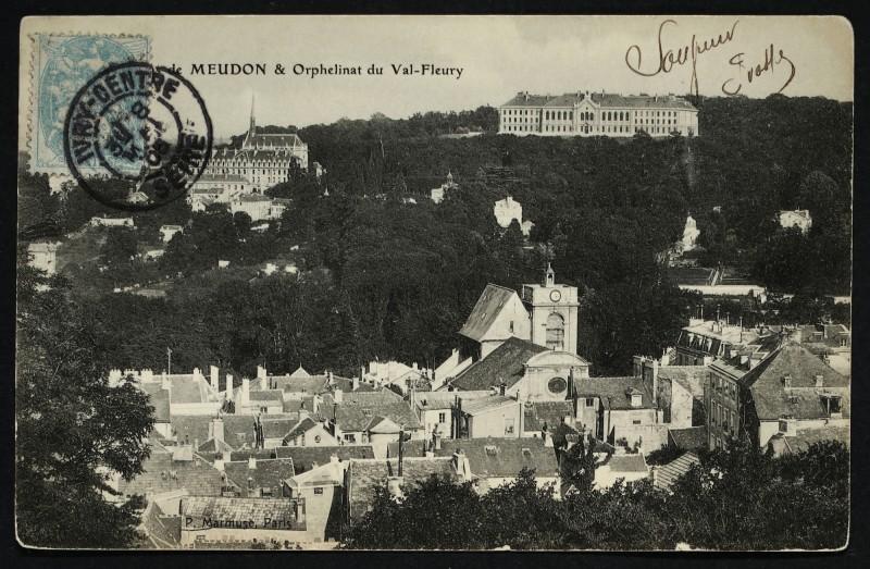Carte postale ancienne Vue de Meudon & Orphelinat du Val-Fleury à Meudon