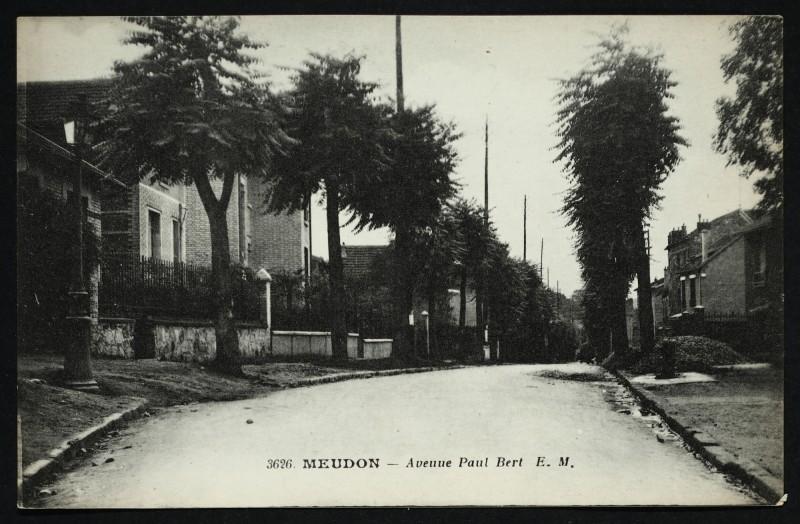 Carte postale ancienne Avenue Paul Bert à Meudon