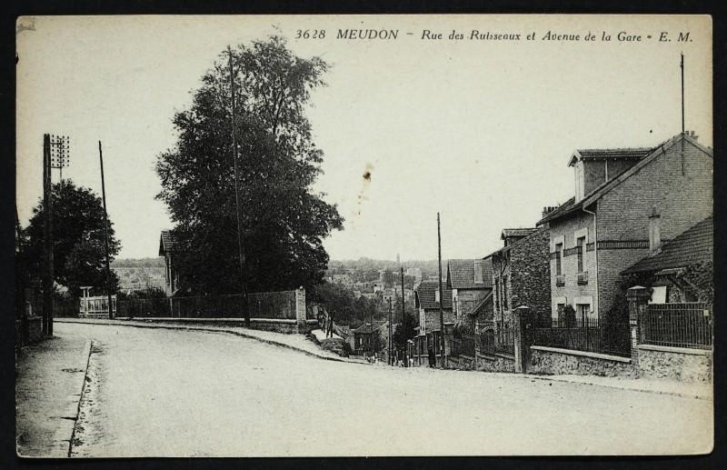 Carte postale ancienne Rue des Ruisseaux et Avenue de la Gare à Meudon