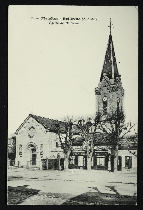 Carte postale ancienne Eglise de Bellevue à Meudon