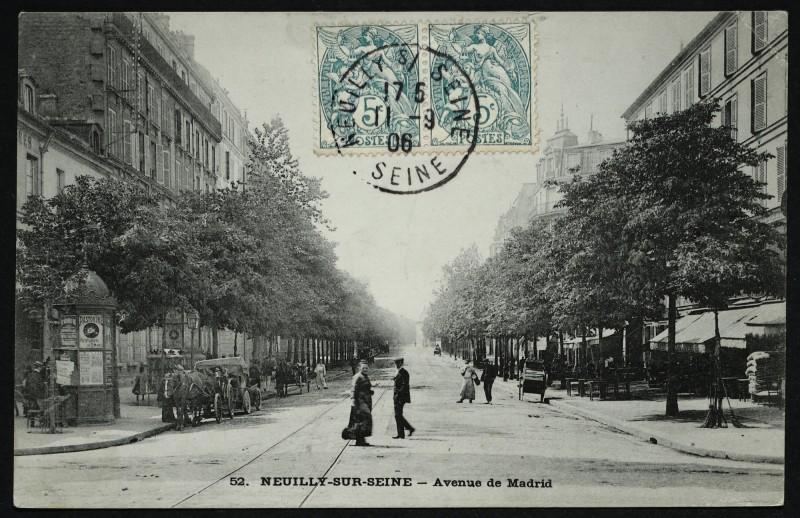 Carte postale ancienne Avenue de Madrid à Neuilly-sur-Seine