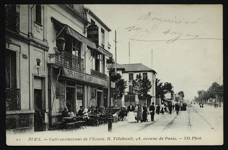 Carte postale ancienne Café-restaurant de l'Yonne, H. Tillebault, 8 avenue de Paris à Rueil-Malmaison
