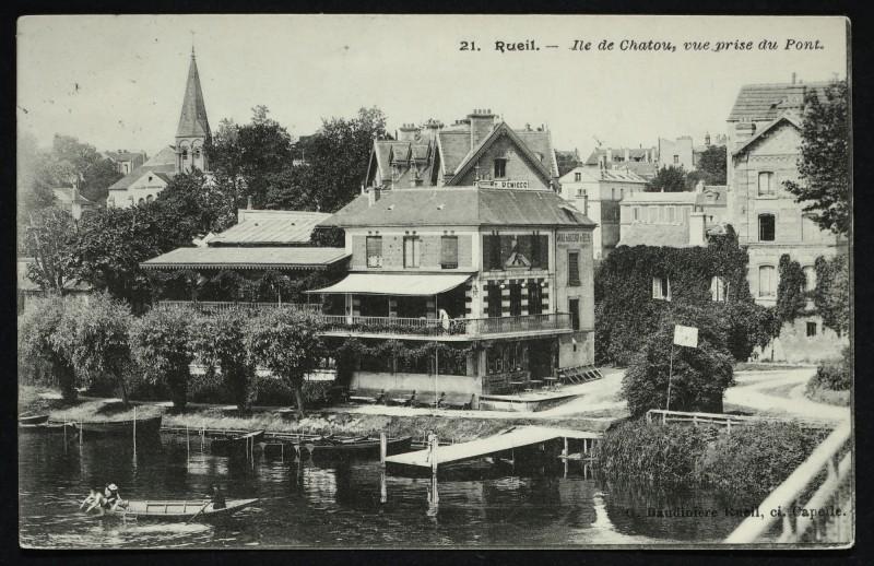 Carte postale ancienne Ile de Chatou, vue prise du Pont à Rueil-Malmaison