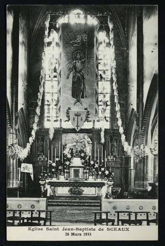 Carte postale ancienne Eglise saint Jean-Baptiste de Sceaux 26 mars 1933 à Sceaux