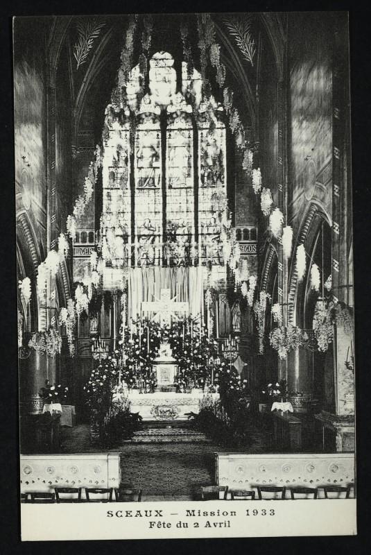 Carte postale ancienne [Eglise saint Jean-Baptiste de Sceaux] - Mission 1933 Fête du 2 avril à Sceaux