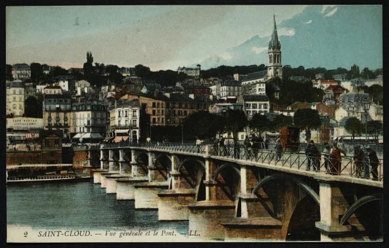 Carte postale ancienne Vue générale et le Pont à Saint-Cloud