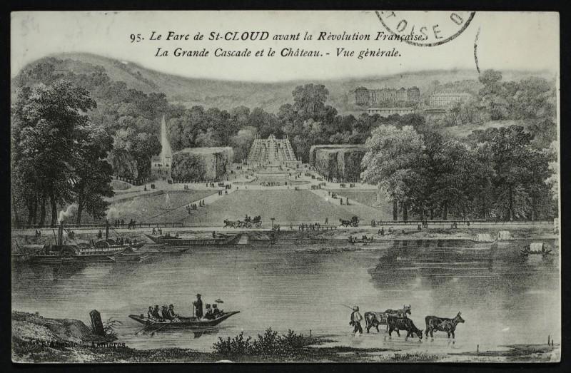 Carte postale ancienne Le Parc de St Cloud avant la Révolution Française [reproduction d'une gravure] à Saint-Cloud