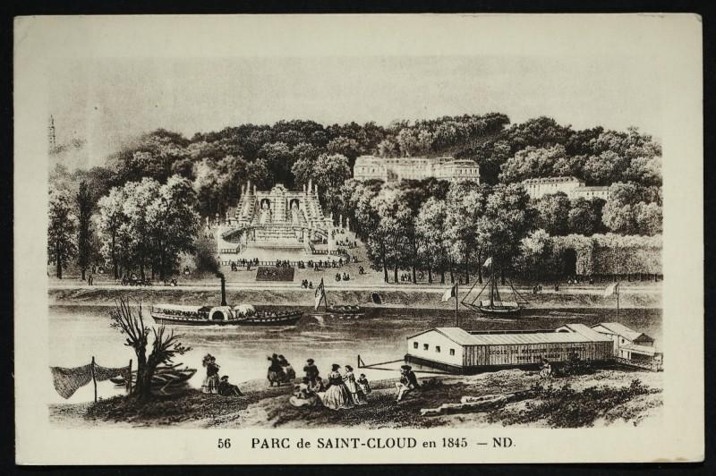 Carte postale ancienne Parc de Saint-Cloud en 1845 [reproduction d'une gravure] à Saint-Cloud