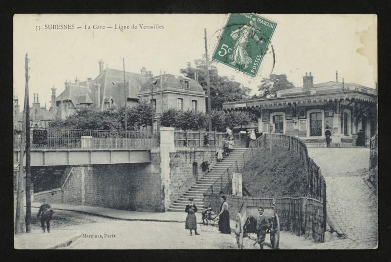 Carte postale ancienne La Gare - Ligne de Versailles à Suresnes